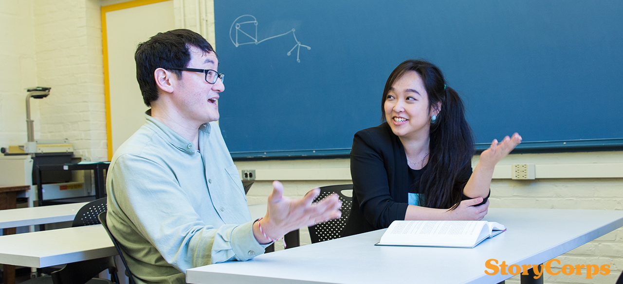 StoryCorps interview subjects Xi Xi '17 and Professor Stanley Chang converse in a Wellesley classroom