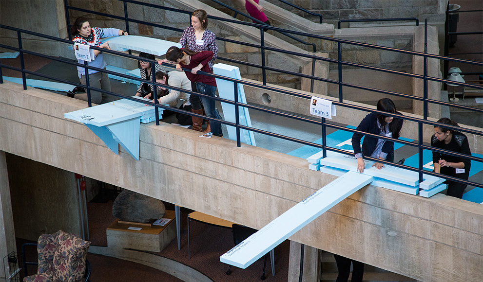 2016 Albright Institute Fellows constructed cantilevers using styrofoam and pencils