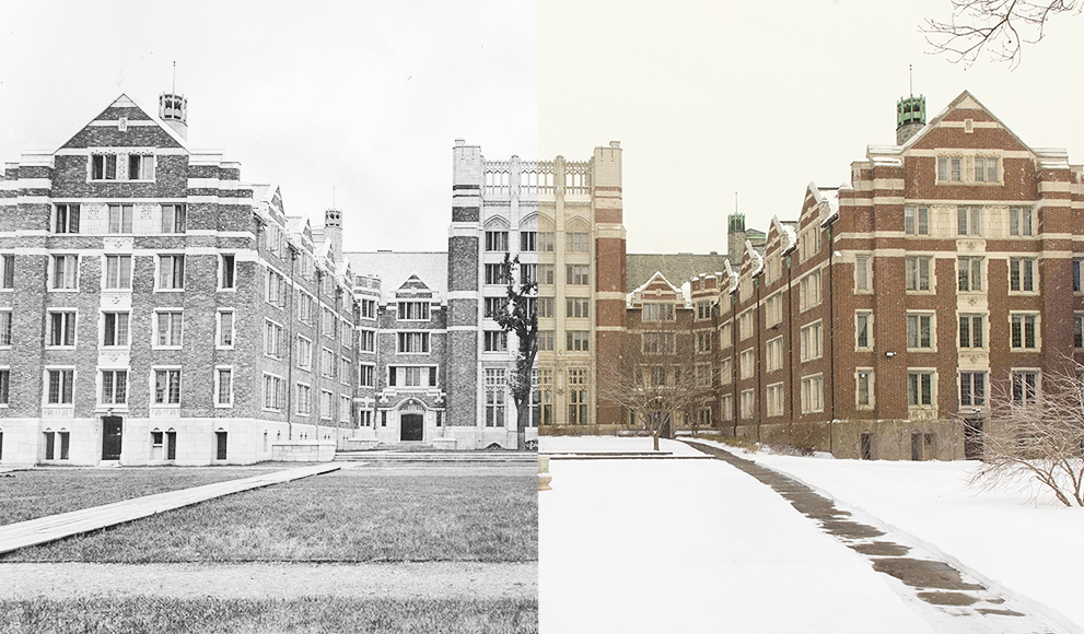 Split screen image of Tower Court building, 100 years ago and today
