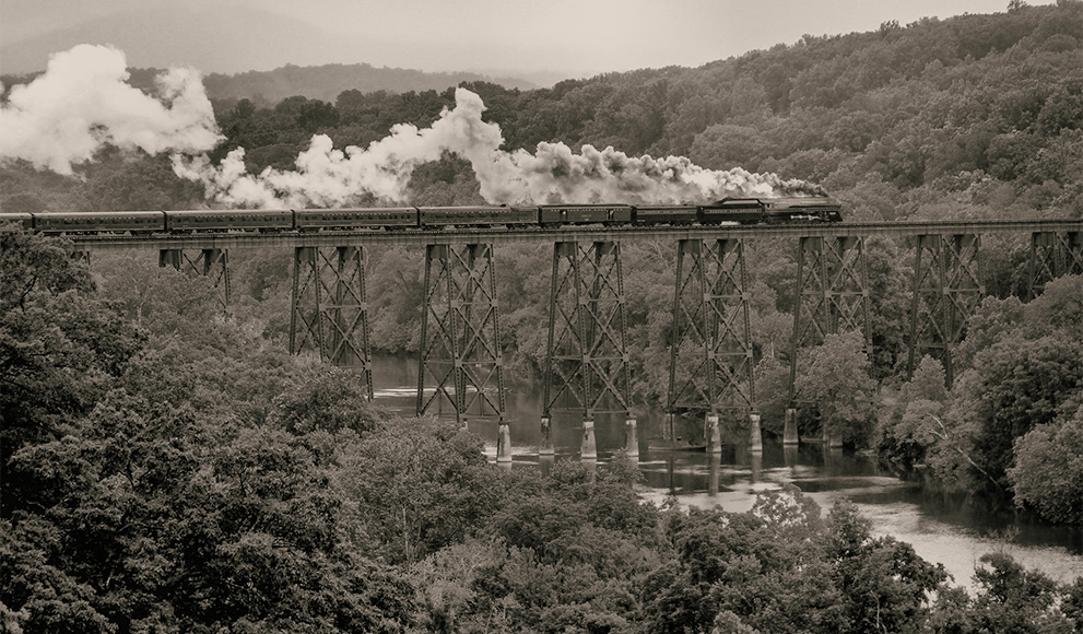 Historic photo of train traveling across the United States