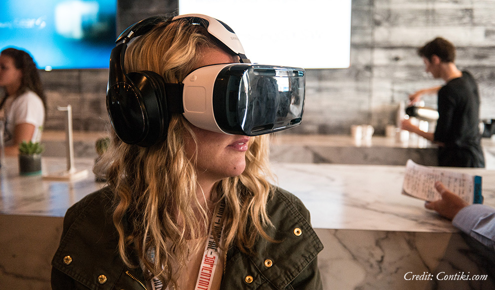 Young woman uses virtual reality googles