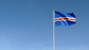 cape verde flag against blue sky