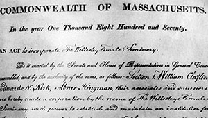 detail, Wellesley 1870 charter document