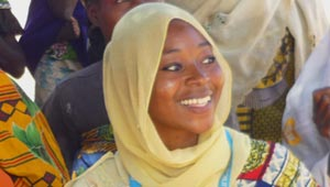 Halima in yellow headscarf