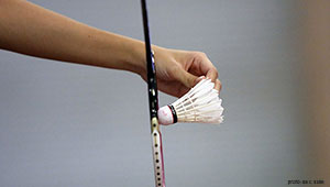 closeup: badminton serve, photo SF Chronicle