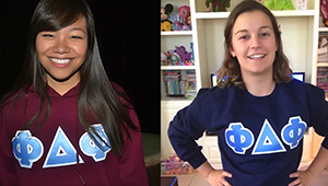 Adeline Lee and Brittany Lamon-Paredes in Phi Delta Phi shirts