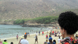 Laili Maparyan looks out on Cape Verdean beach