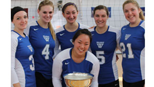 Wellesley volleyball team holds seven sisters championship cup
