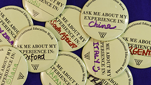 "Pile of ""Ask Me About My Experience in..."" buttons"