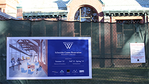 construction sign outside of Schneider Center