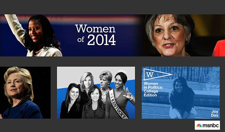 Screenshot from MSNBC including Joy Das and Hillary Clinton in separate images