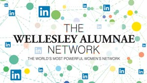 Wellesley Alumnae Network logo with LinkedIn logo and symbols of connection in background