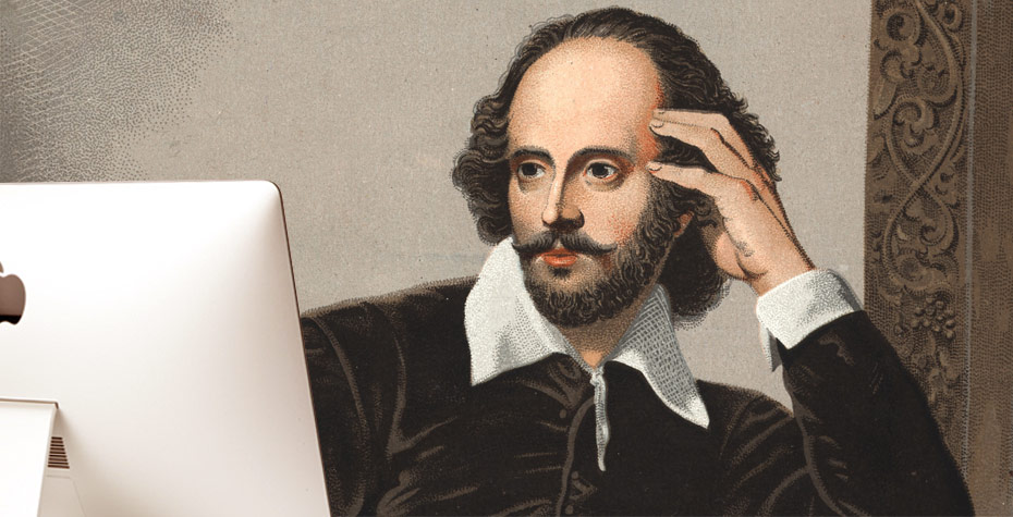 drawing of shakespeare studying computer screen