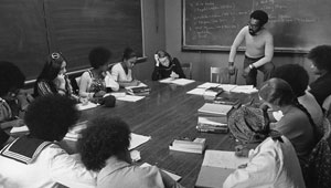 vintage photo: 1974 Black Studies classroom with 12 students and 1 professor