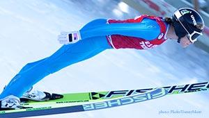 ski jumper Jessica Jerome airborne