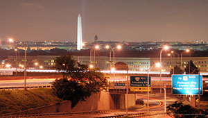 Pentagon building at night