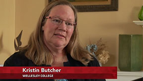 Screenshot of Kristin Butcher speaking on Newshour