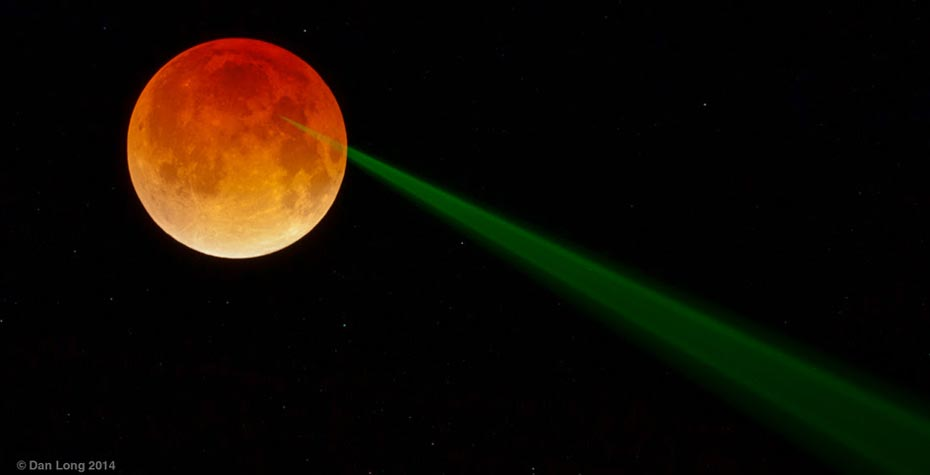 green laser light hitting moon, photo by Dan Long