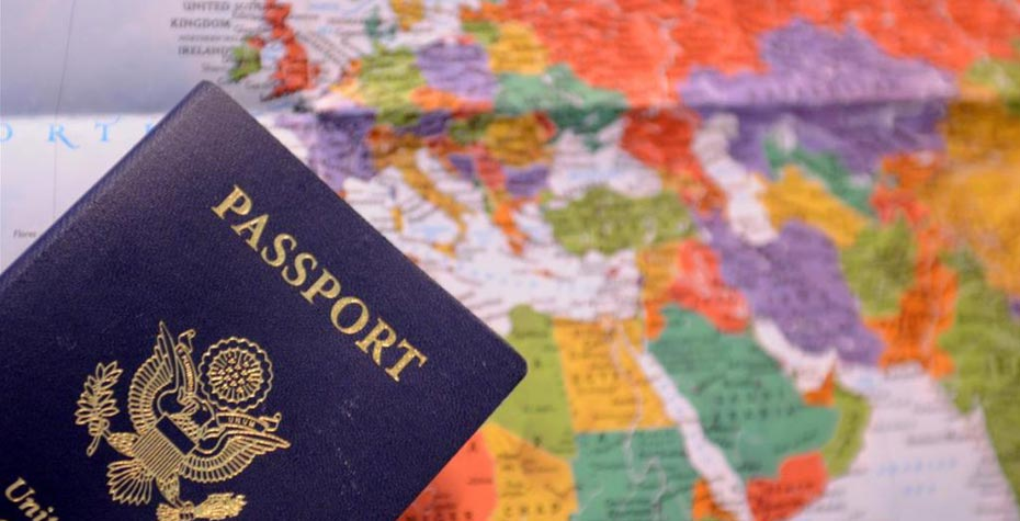 passport and world map