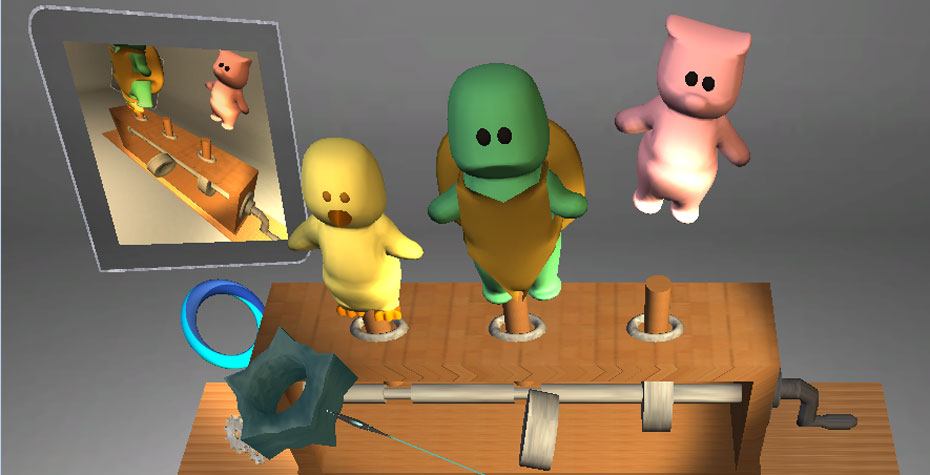 playful animals in a virtual interface using haptic feedback