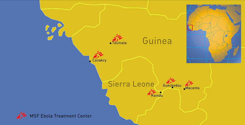 map of guinea and sierra leone showing Ebola sites