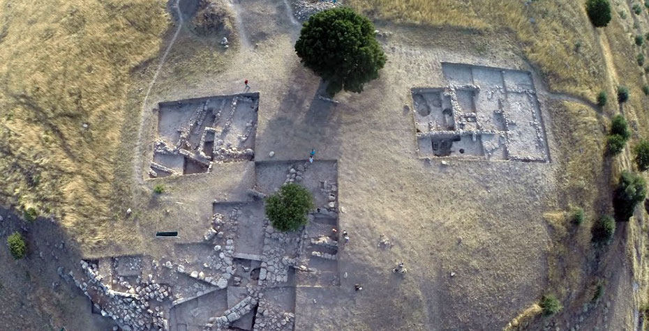 aerial photo of archaeological dig in Greece