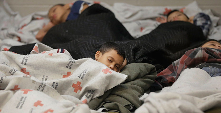 children sleeping in refugee center