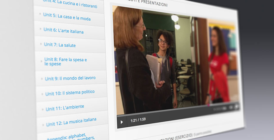 screen shot from Wellesley's Italian Online course, showing video scene