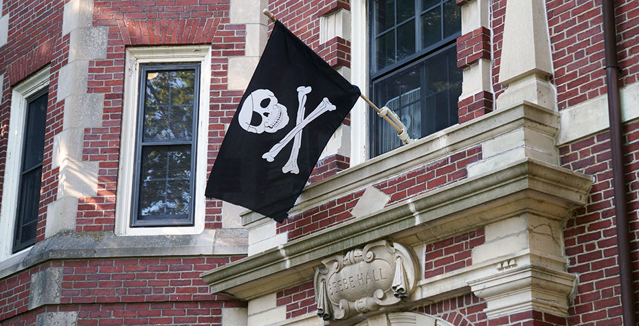 jolly roger flies above Beebe entrance