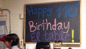 El Table blackboard: Happy 110th Birthday El Table!