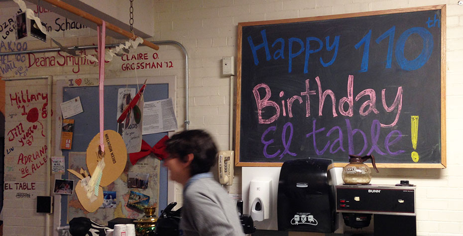 Blackboard sign: Happy 110th Birthday El Table!