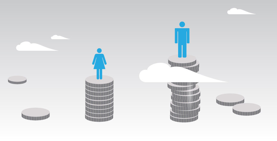 graphic showing woman on small pile of money, man on large pile
