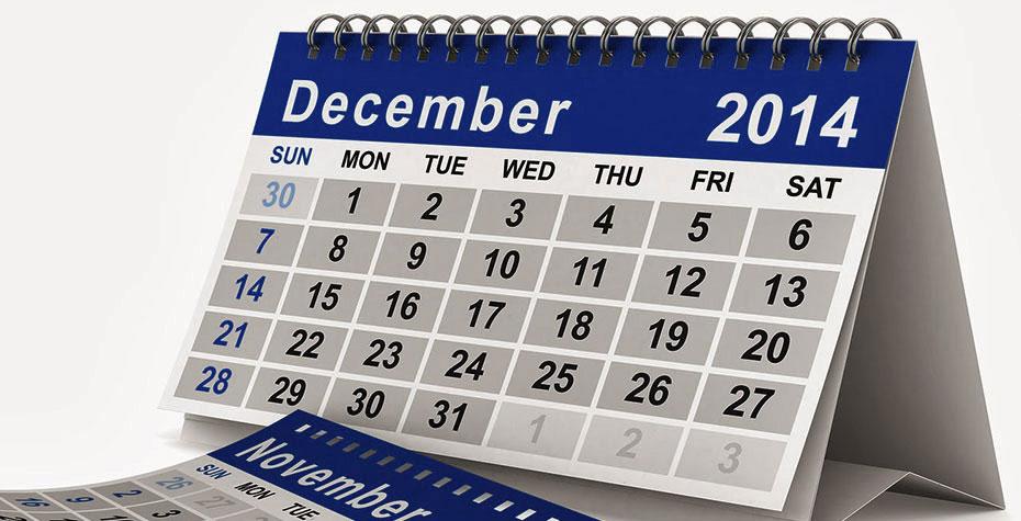 calendar page: December 2014