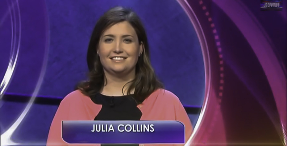 screenshot of Julia Collins '05 on TV game show Jeopardy!
