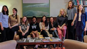 9 Daniels Fellows pose together in Provost's office