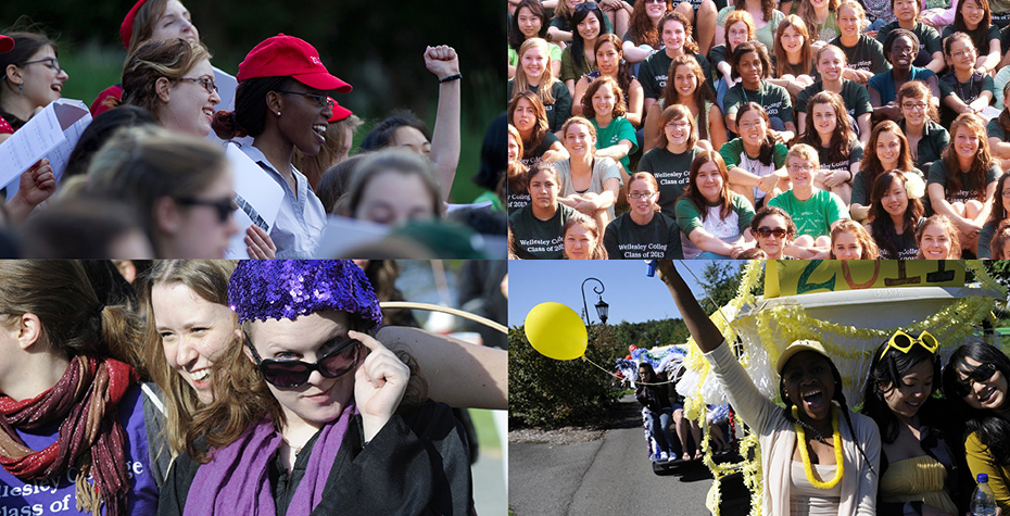 red, green, purple, and yellow: Wellesley's class colors