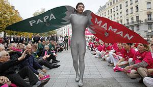 French demonstrator in bird suit
