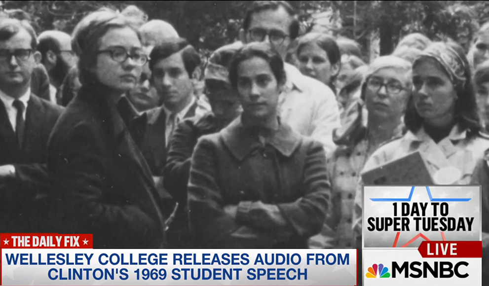 Historic photo of Hillary Rodham Clinton '69 as broadcast by MSNBC