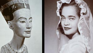 lorraine o'grady photo diptych of egyptian bust and african american bride