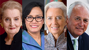 Madeleine Albright, Sri Mulyani Indrawati, Christine Lagarde, and Mark Malloch-Brown