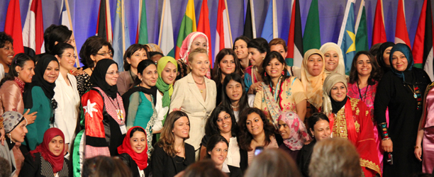 Hillary Clinton with delegates at Women in Public Service Institute