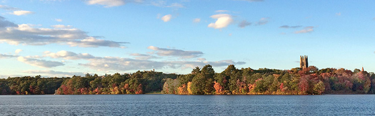 Galenstone Tower from across Lake Waban