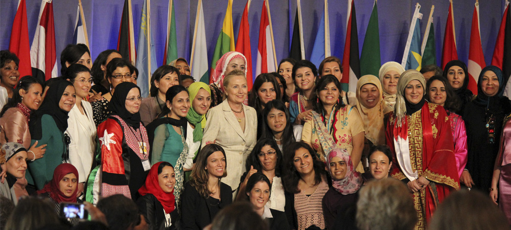 Hillary Clinton and Women in Public Service participants
