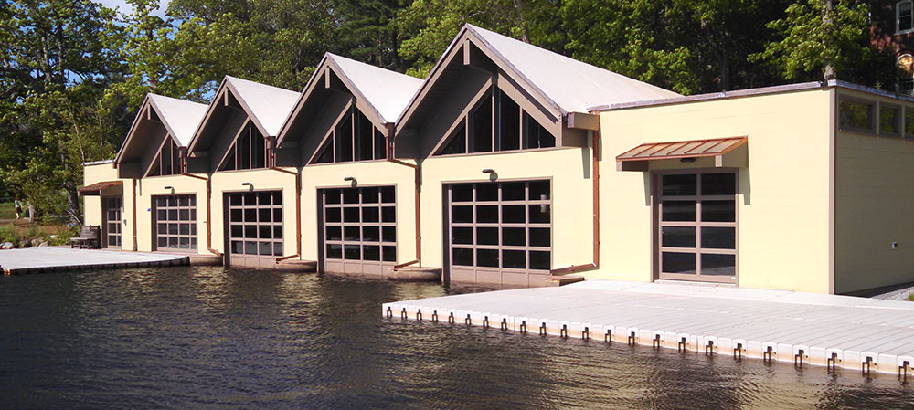 renovated boathouse as seen from Lake Waban