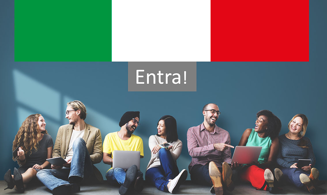 "Students reading in front of ""Enter"" button below Italian flag"