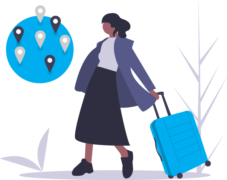 Graphic of a woman carrying a suitcase with a world behind her with pin points