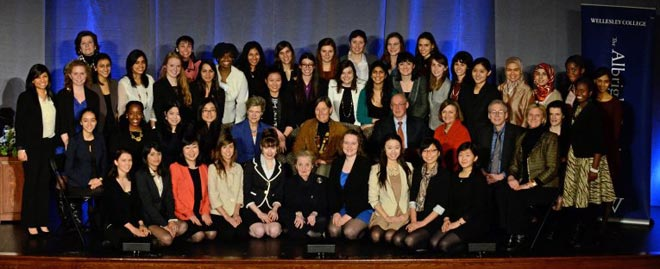 2013 Albright fellows and faculty pose with Madeleine Albright