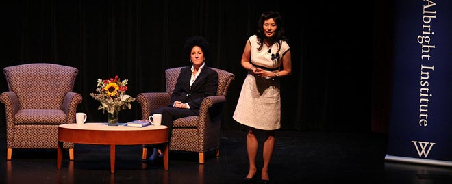 Sheryl WuDunn and Layli Maparyam on stage at Wellesley