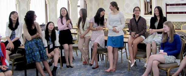 American and Chinese students laugh together in Beijing