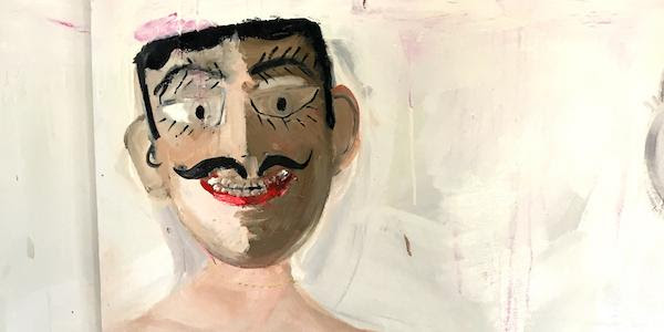 detail of a painting, stylized face with mustache, by Alida Cervantes